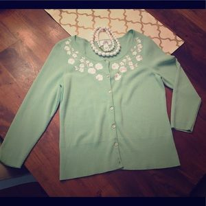 Lovely Mint embroidered Sweater- Small