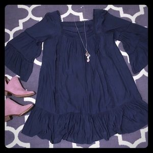 Slate blue boho dress