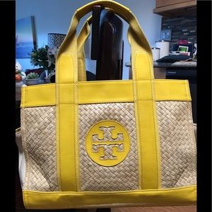 Tory Butch Straw and Patent Leather tote