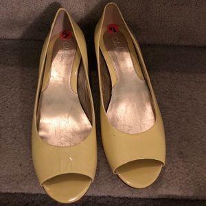Cole Haan peep toe patent wedge flats