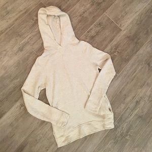 J. Crew cream and gray feathered hooded sweatshirt