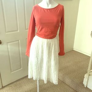 Forever 21 Orange/Peach Long-Sleeved Crop Top