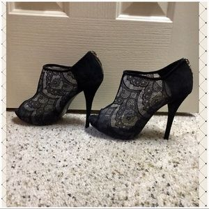 Shoes - Black Lace Peep Toe Ankle Booties Boots Pumps 7