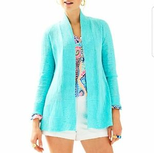 Lilly Pulitzer Turquoise Open Cardigan