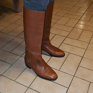Brown Leather Riding boot w/ gold buckle