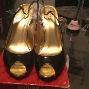 Guess Gold Heeled Black Patent Millicent peep toe