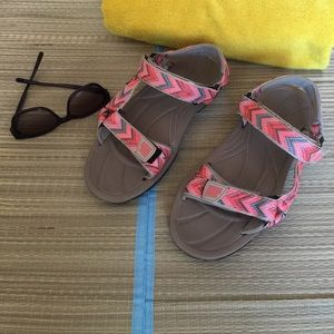 Northside Sandals in Neon Pink, Light Blue & Tan.