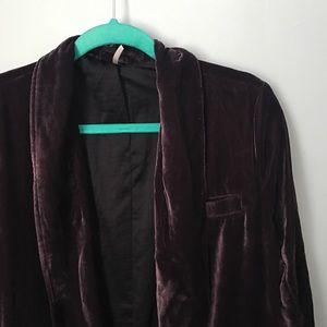 Free People Purple Velvet Blazer