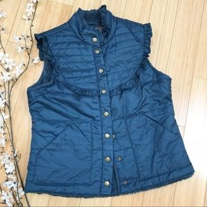 FREE PEOPLE quilted snap up green vest, M.
