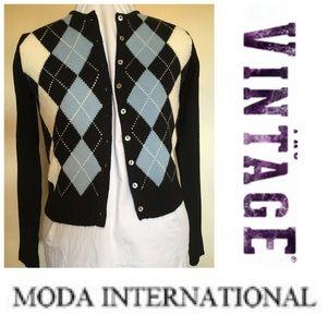 VINTAGE Argyle Moda Intern'l Wool Blend Cardigan