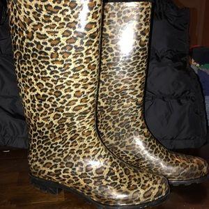Jaguar Print Rain Boots Women's Size 10