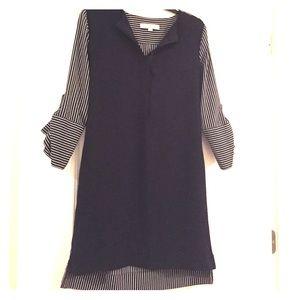 LOFT navy blue and white striped shirt-dress