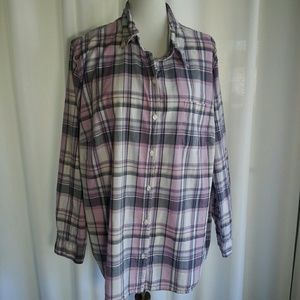 Merona Plaid Button Down Shirt Plus Size 2X