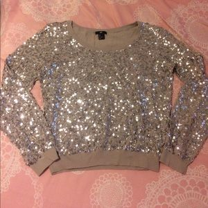 H&M taupe all over sequin bling sparkly sweater