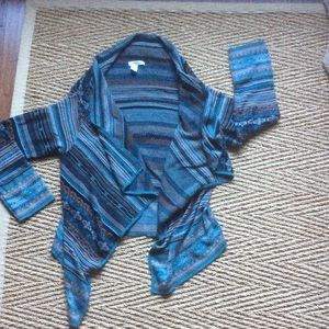 Coldwater Creek patterned wrap sweater NWOT