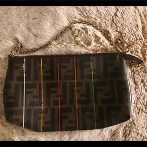 Fendi Handbag with Gold Chain Strap Authentic