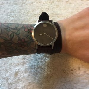 Authentic Movado Burgundy bold leather wrap watch.