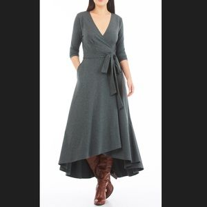 New Eshakti Fit & Flare Midi Wrap Dress M 10