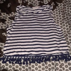 Blue and white striped crop tank top