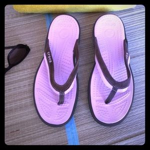 Crocs Flip Flops in Pink and Brown, Size 8