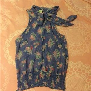 Blue floral polka dot ascot bow tie neck blouse