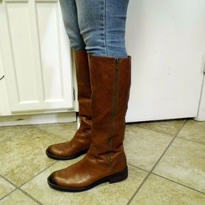 Genuine Leather Brown Knee High Boots