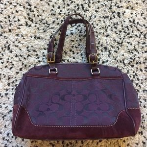 New Coach Plum Signature and Leather Satchel