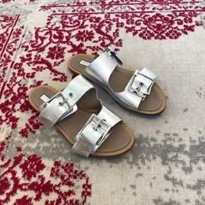 Topshop Silver Leather Slides