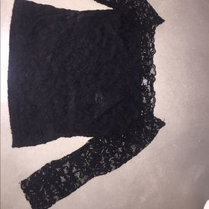 Black off the shoulder all lace top