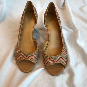Nine West Woven Multi-color Open-toe Wedge Heels