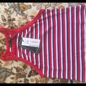 NWT high neck ribbed crop top: Red/White/blue
