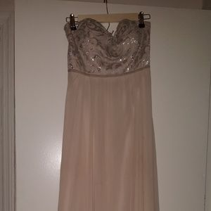 Tan/Cream/ivory Long Ball gown, prom gown