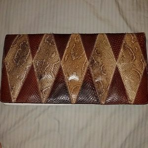 Vintage Ronora python snake genuine leather clutch