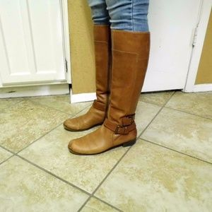 Knee High Brown Tan Genuine Leather Boots