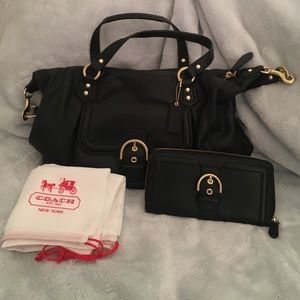 Coach black with gold buckle purse & wallet