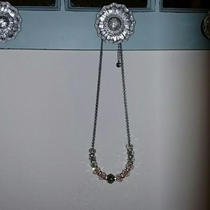 Beautiful pink and grey crystal necklace