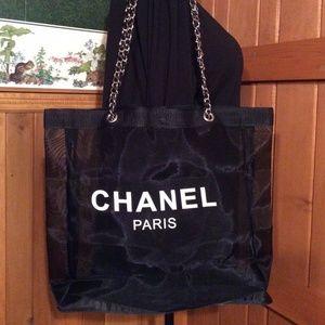 Chanel mesh tote bag Gold vip gift bag New