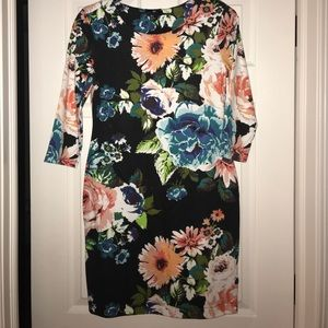 H&M- floral fitted dress