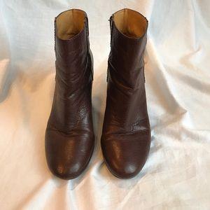 Nine West Brown Leather Wedge Heel Boots