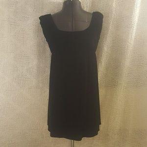 Fancy Short Little Black Dress Velvet Cap Sleeves