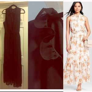 Mossimo sleeveless Maxi dress.Frill detail at neck