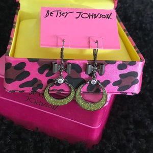 BETSEY JOHNSON Disco Dangle Glitter Bob EARRINGS