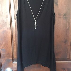 Black zipper tank top