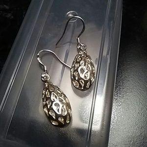 Silver dangle hook earrings new