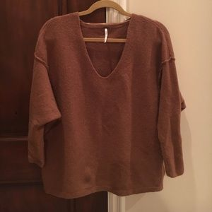 Free People Rust oversized sweater