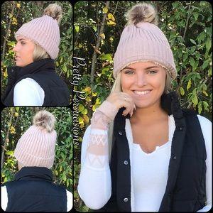 NWT Blush Lined Pom Pom Slouchy Beanie Hat