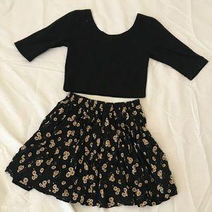 Cute crop top and skirt set