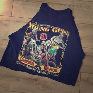 Old schools young guns cropped handmade vintage t