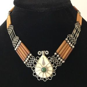 Wood, Bone, and Turquoise Necklace