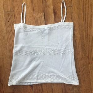 DKNY White Strappy Knit Tank Top